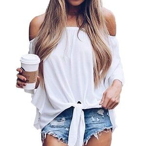 Bell Sleeve Off The Shoulder Tie Front Top- White